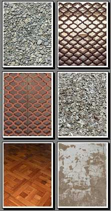 Wood parquet, old wood wall, round gravel, roman bricks, rock walls printable backgrounds