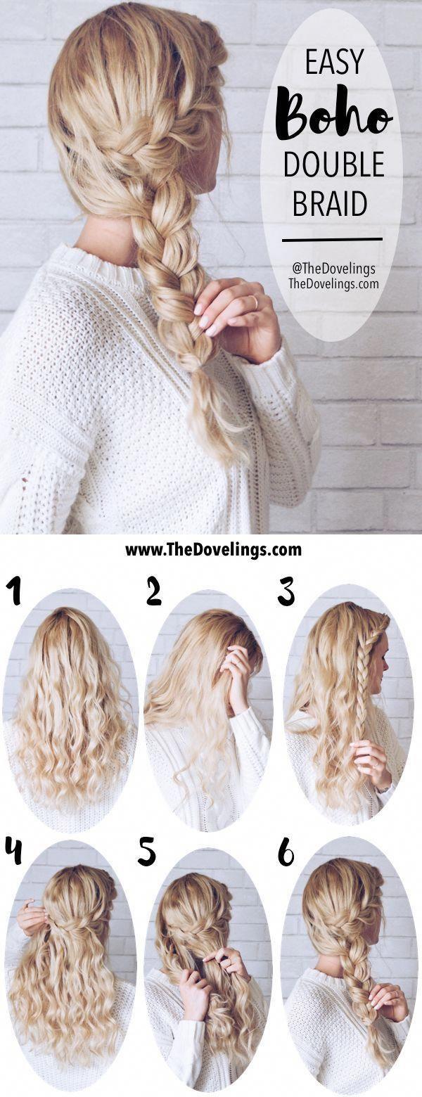 Braids Hairstyle Blonde Easy Boho Hair Tutorial Side Braid Crown | @TheDovelings…