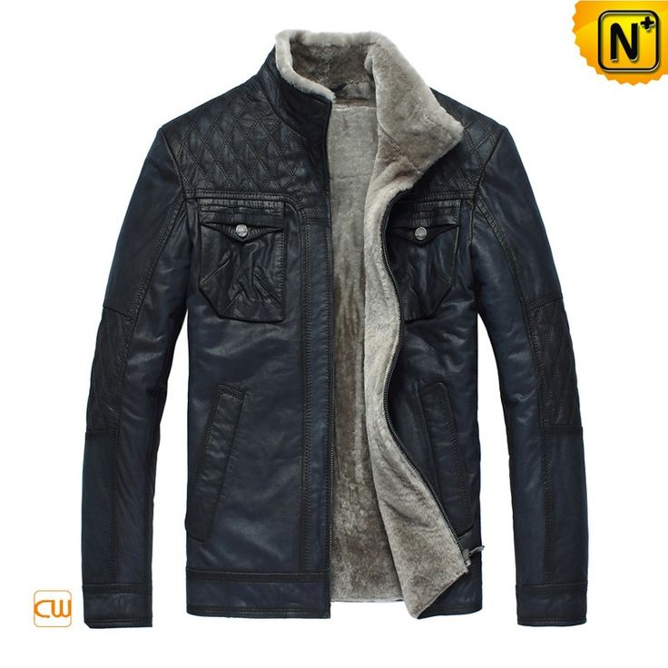 CWMALLS® Burlington Men Shearling Leather Jacket CW819421 - Navy fur shearling leather jacket for men, features in quilting patterns on the shoulder, chest pockets and classic shearling stand collar, through dozens of traditional handicraft process, it is made exquisitely and will satisfy you surely.