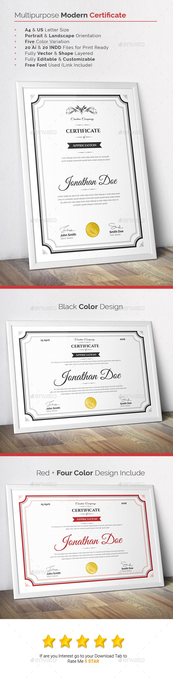 22 best certificate images on pinterest certificate templates multipurpose modern certificate template indd vector ai download here http xflitez Gallery