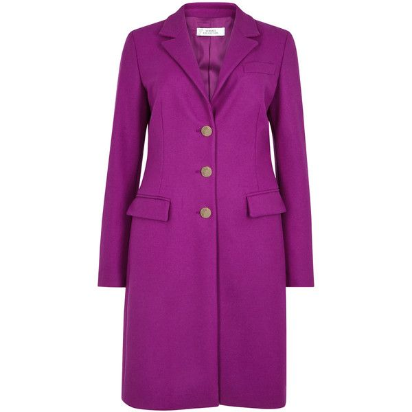 Versace Collection Magenta wool blend coat (57.250 RUB) ❤ liked on Polyvore featuring outerwear, coats, versace coat, purple coat, versace and wool blend coat