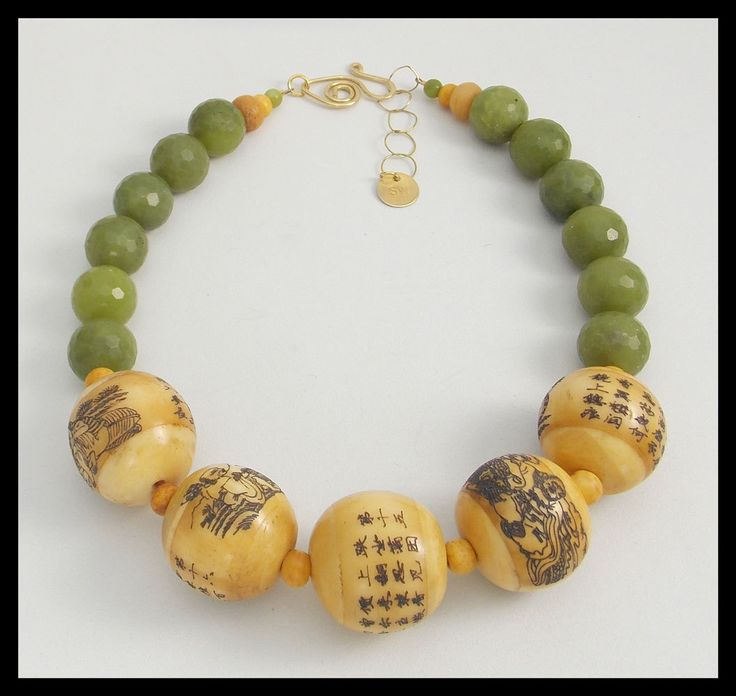 ASIAN GARDEN - Old Chinese Scrimshaw Focals - Faceted Jade Statement Necklace by sandrawebsterjewelry on Etsy