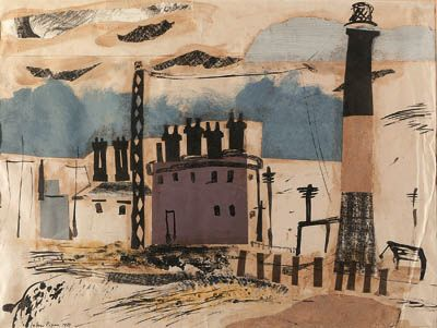 """Dungeness"" by John Piper (ink/collage)"