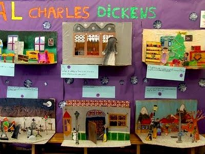 book dioramas- miniature   scenes from Charles Dickens' A Christmas Carol