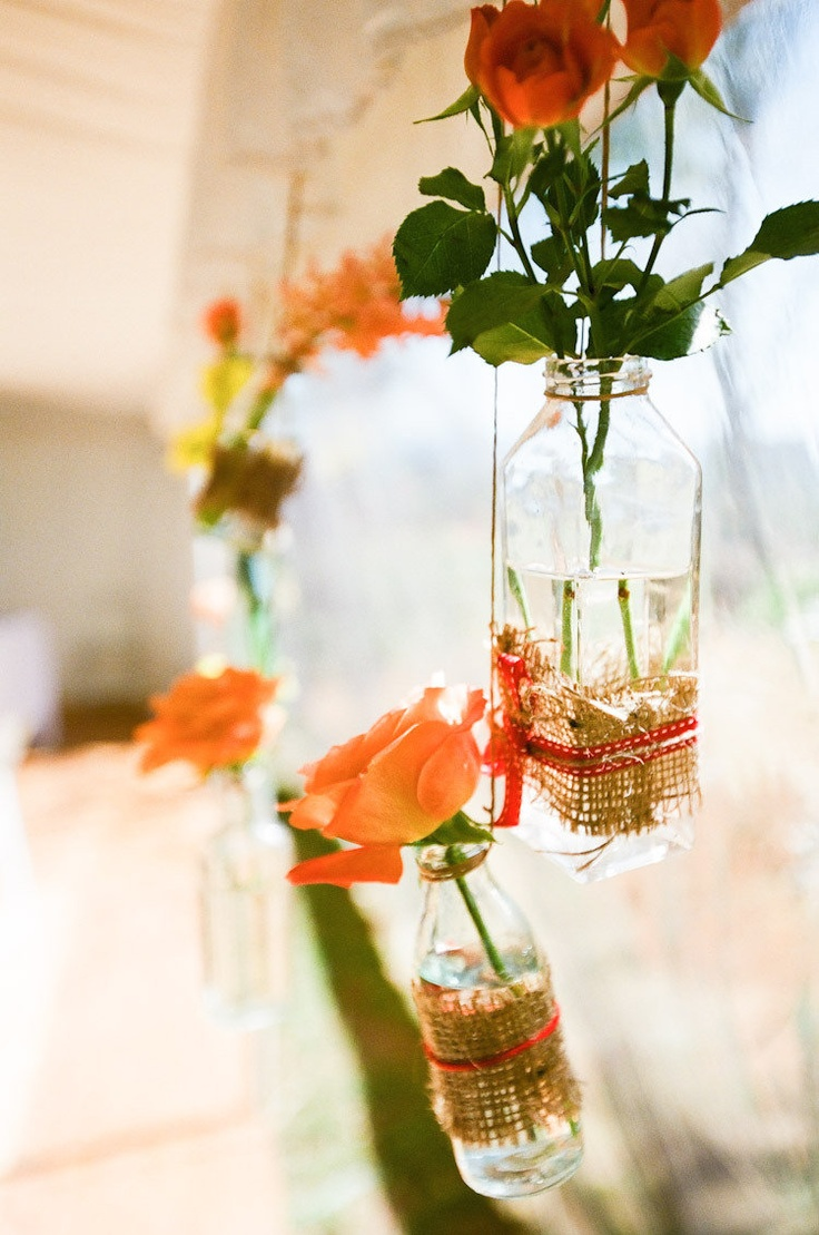 Hanging glass jars wrapped in burlap    Photography by featherandstone.com.au/, Event Coordination, Marquee   Rentals by byronbayweddingsandevents.com/