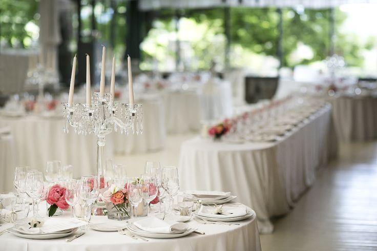 indoor wedding reception ideas with crystal candelabra centertable photo by David Bastianoni