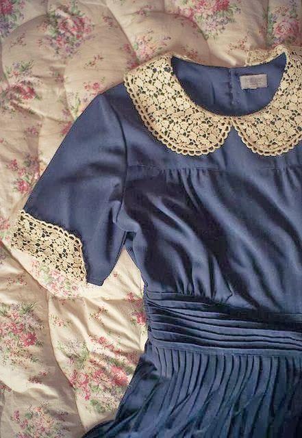 China Blue Peter Pan collar dress