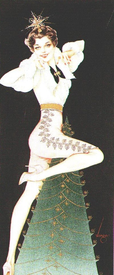 Alberto Vargas - Christmas card design (circa 1950s)