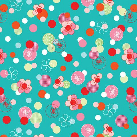 Hello Tokyo Cherry Blossom fabric in Aqua by The Red Thread Fabric by:   Robert Kaufman  $4.50 #australianfabric #robertkaufman #cherryblossom