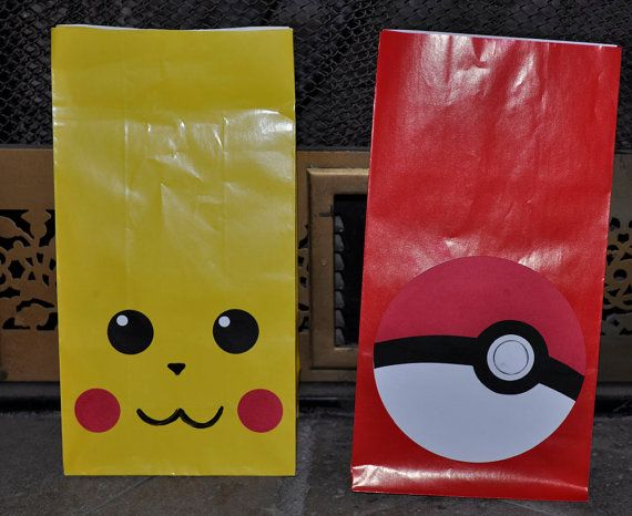 This is a set of 10 Pokemon themed gift bags. The set comes with 5 of each bag:    5 Pikachu, and 5 Poke Balls.    Each bag measures about 8
