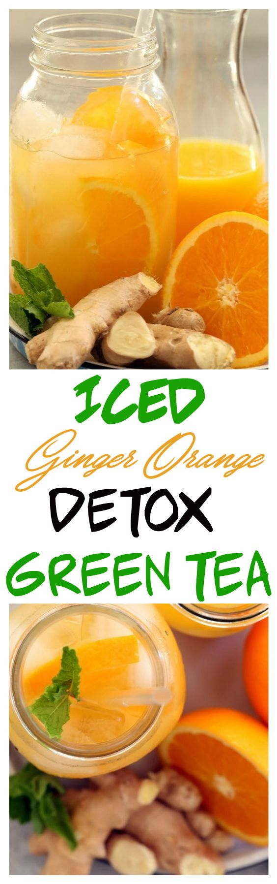 This Iced Orange Ginger Detox Green Tea is a simple fruit-flavored iced green tea recipe that's loaded with antioxidants and detoxifying benefits. Get a little pick-me-up with Iced Ginger Orange Detox Green Tea.