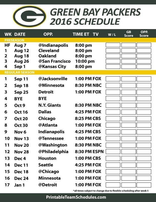 Green Bay Packers 2016 Football Schedule. Print Schedule Here - http://printableteamschedules.com/NFL/greenbaypackersschedule.php