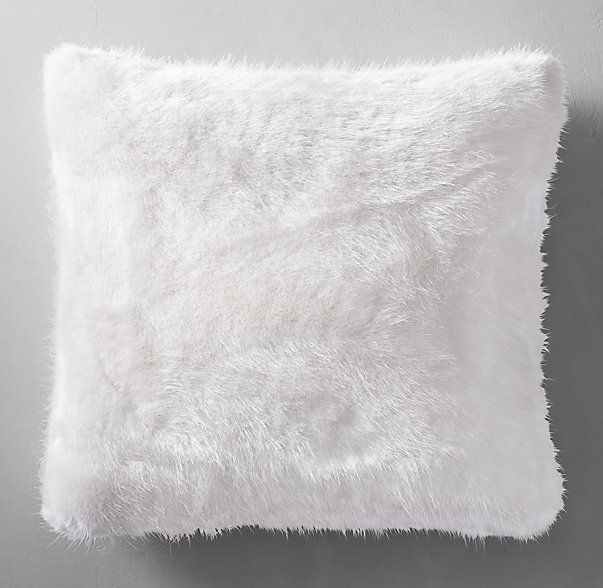 Ultra faux fur pillow cover white square special 27 for White faux fur pillow