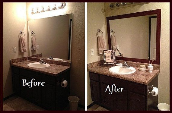 Great Idea To Class Up The Bathroom Stick On Frame Adhesive Frame For Bathroom By Stickonf Bathroom Mirrors Diy Bathroom Mirror Frame Large Bathroom Mirrors