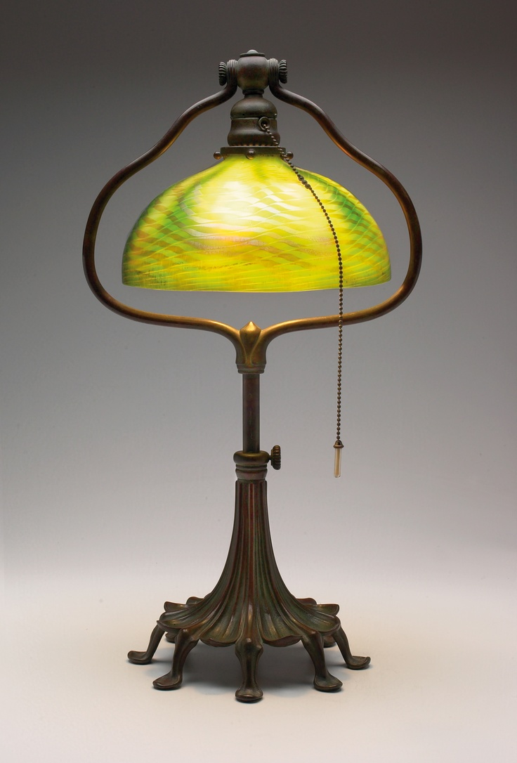 And bronze table lamp tiffany studios the shade with iridescent green - 63 Best Images About Decorative Arts Including Art