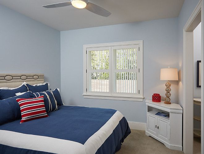 """guest bedroom's paint color is """"Benjamin Moore 1625 Blue Lace""""."""