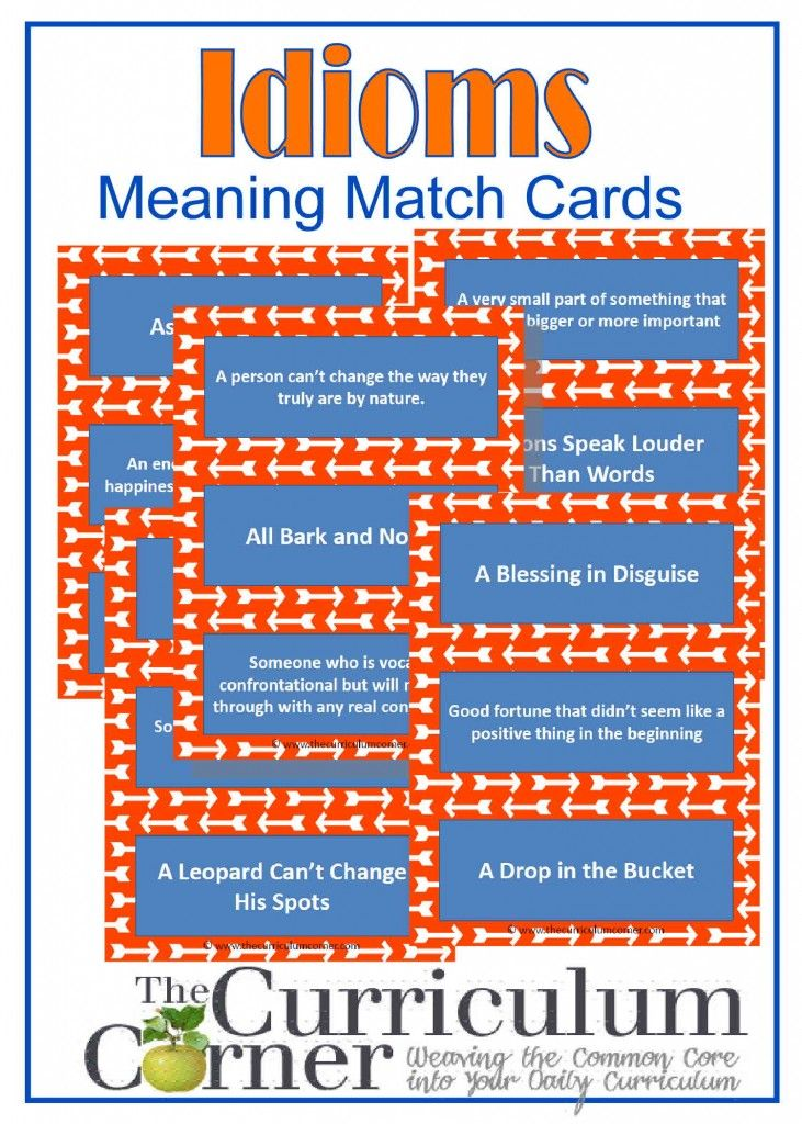 Idioms Meaning Matching Cards | Meets 4th Grade Common Core Standards | Free from The Curriculum Corner | Movement activity for older kids