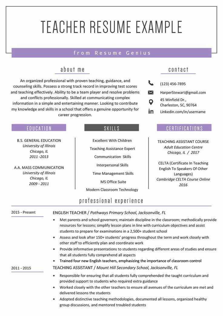 40 Free Teacher Resume Templates in 2020 Resume, Teacher