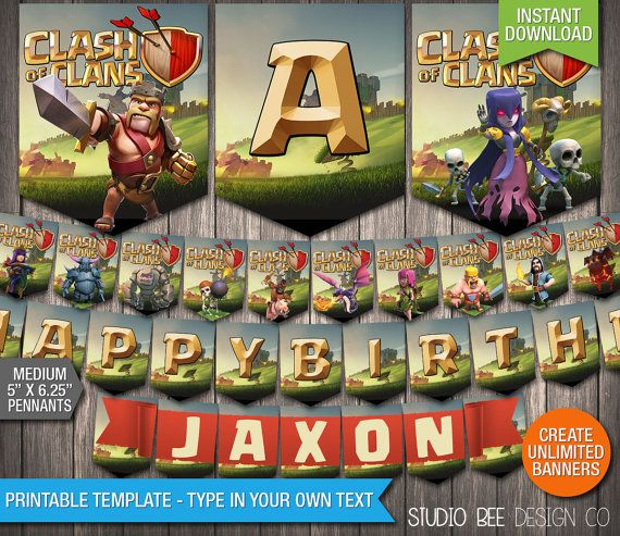 Clash of Clans Banner - INSTANT DOWNLOAD - Printable Supercell Clash of Clans Happy Birthday Name Banner - DIY Personalize & Print (CCmb01)
