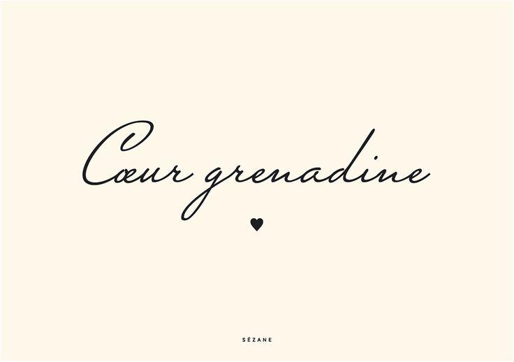 Coeur grenadine Sezane Typography Card #sezane #journalsezane