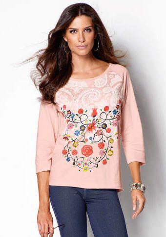 Mikina s potiskem a 3/4 rukávy #ModinoCZ #hoodie #flowers #pink #fashion #style #trends #květiny #mikina #květinovýpotisk #móda
