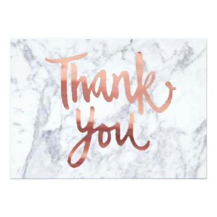 Calligraphy Faux Rose Gold Thank You On Marble Card