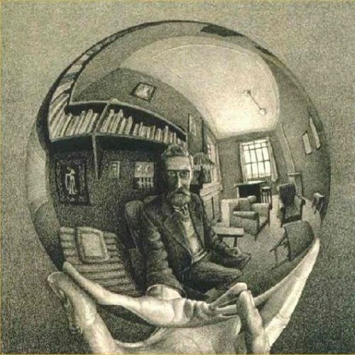 Glass Ball.   This optical illusion is actually a sketch drawn by M. C. Escher. Upon looking at the image it first appears that the man is physically sitting within the glass ball. However, when you pay more attention to the drawing you can see that the entire image in the glass ball is a reflection.