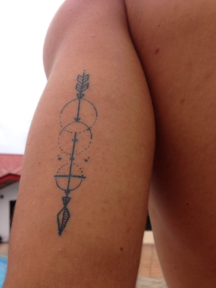 tattoo - arrow - geometric design and figures. An arrow can only be shot by pulling it backward. So when life is dragging you back with difficulties, it means that it's going to launch you into something great.