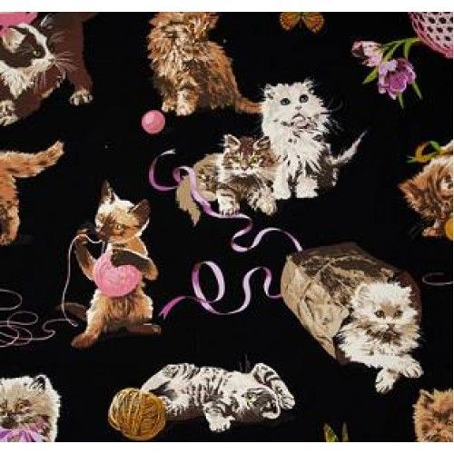 What s New Pussycat? Black Cotton Fabric by Alexander Henry - Order Online - Fabric Traders
