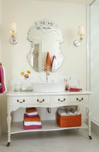 Why go with builder grade or box store vanities when you can repurpose a lovely piece of furniture? Via The Inspired Room.: Sarah Richardson, Crafts Rooms, Sarah Houses, Sarahrichardson, Bathroom Vanities, Bathroom Sinks, Bathroom Ideas, Girls Rooms, Girls Bathroom