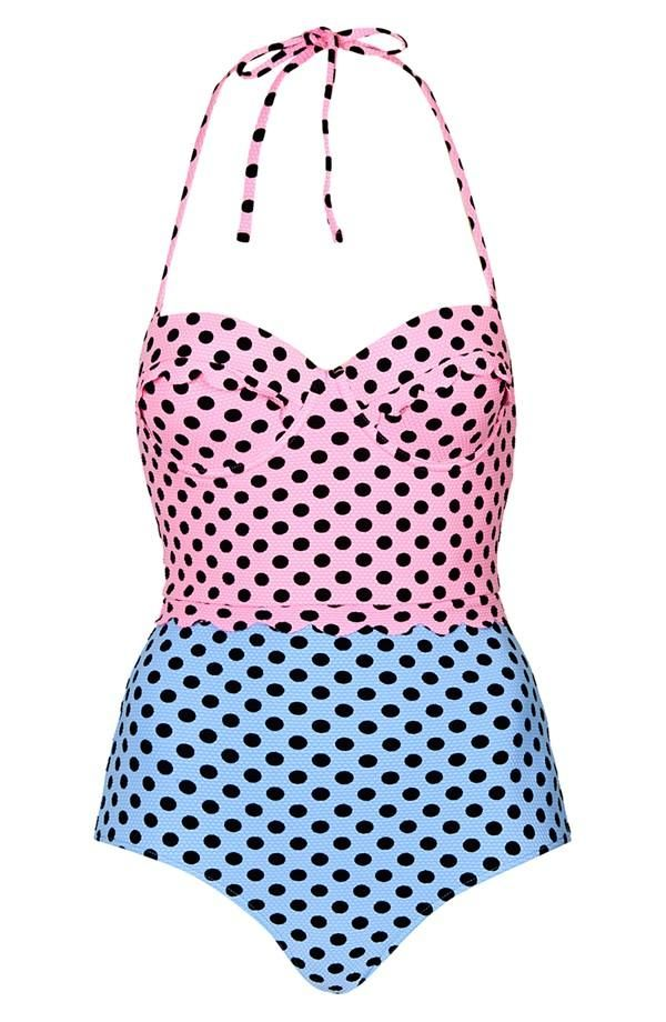 Love! 50's style pastel pink and powder blue one-piece swimsuit.