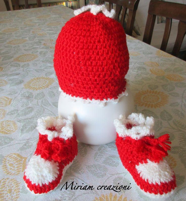 cappellino e scarpine rosso/bianco da neonato, by  vetrina miriam chiocciola, 18,00 € su misshobby.com