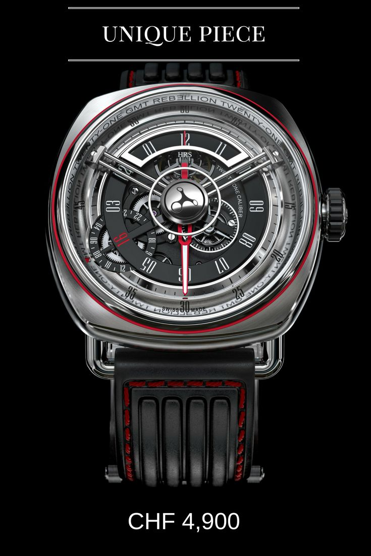 REBELLION Twenty-One  Characteristics: self-winding watch with GMT indication on openworked dial, stainless steel case with exhibition sapphire crystal caseback revealing a wheel-rim-shaped rotor Unique feature: red 16 numeral on the rotating hours disk