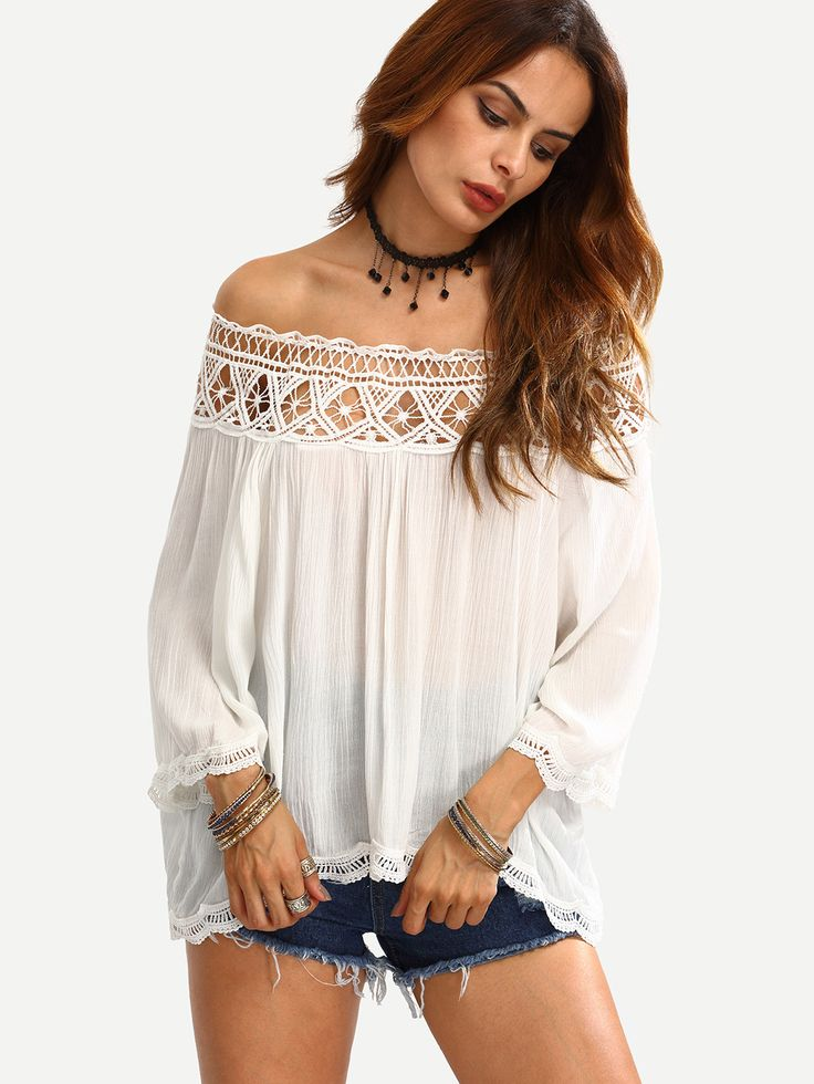 White Off The Shoulder Crochet Hollow Out Shirt