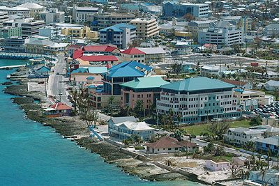 Georgetown, Grand Cayman  This is a beautiful island with beautiful beaches and a lot of banks. If you're gonna drive on this island remember they drive on the wrong side of the street.