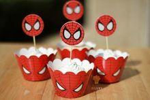 Бесплатная доставка 24 шт. ( 12 завертчицы 12 цилиндры ) человек паук завертчицы и ботворезы свадьба на день рождения ну вечеринку украшения поставки(China (Mainland))