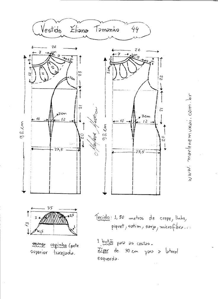 Esquema de Modelagem de Vestido Eliana tamanho 44.