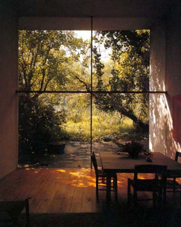 The symmetry of this window is intended to be viewed open-mindedly were the furniture has aligned with one pane.