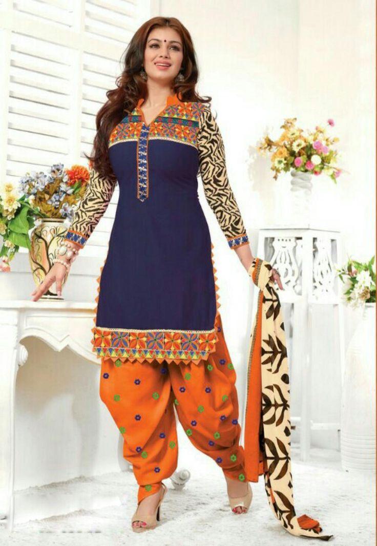 Designer Embroidered Blue And Orange Patiala Salwar Suit