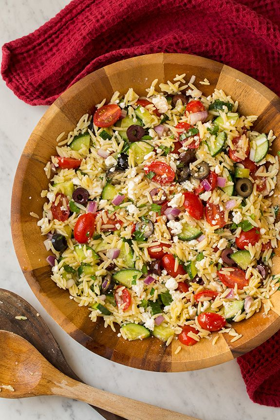 Greek Orzo Salad | Cooking ClassyIngredients  Dressing 1/3 cup olive oil 3 Tbsp fresh lemon juice 1 clove garlic, minced Salt and black pepper red wine vinegar  Salad 1 1/4 cups (8 oz) dry orzo 1 cup (5 oz) crumbled feta 1 medium English cucumber, diced 1 (10.5 oz) pkg. grape tomatoes, halved 1/2 cup sliced kalamata olives or 3/4 cup sliced black olives 1/2 cup chopped red onion, rinsed under water to removed harsh bite 3 Tbsp chopped fresh basil 2 Tbsp chopped fresh parsley