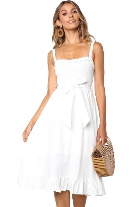 7a339b31665 Cute Arlette Spaghetti Strap White Dress in 2019