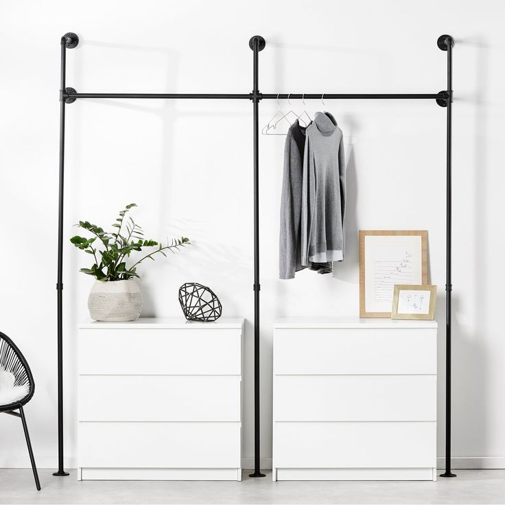 clothes rack wardrobe pipes in industrial design made of black