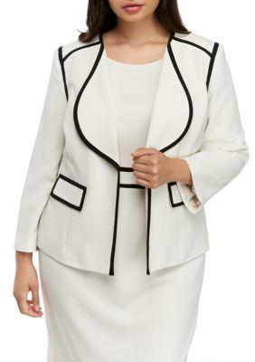 Kasper Women Plus Size Contrast Trim Jacket – Parchment/Black – 20W