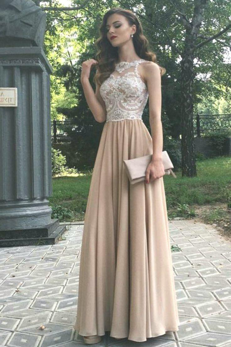 Lange Perlen Spitze Chiffon Abendkleider Online Formale