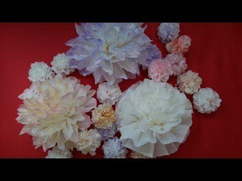 【折り紙】ふわふわカールの花で作るパステルカラーリース Paper Flower Wreath - YouTube