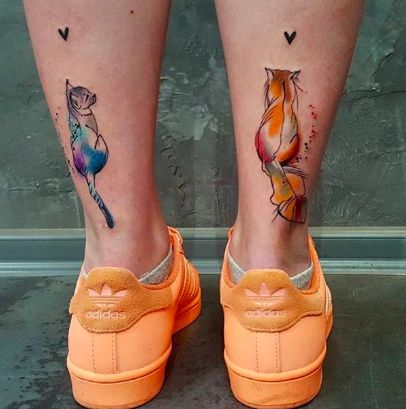 These watercolor cat tattoos are too cute to handle!