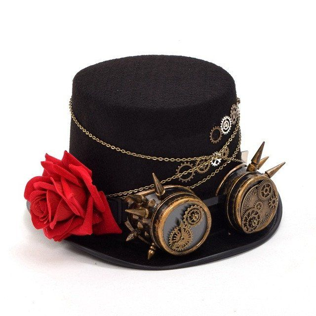 Steampunk Black Top Hat with Vintage Glasses, Metalwork and Rose