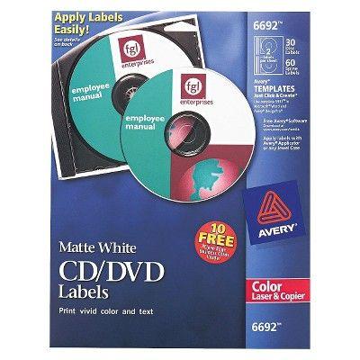 Avery Matte Laser CD/Dvd Labels - White (40 Per Pack)