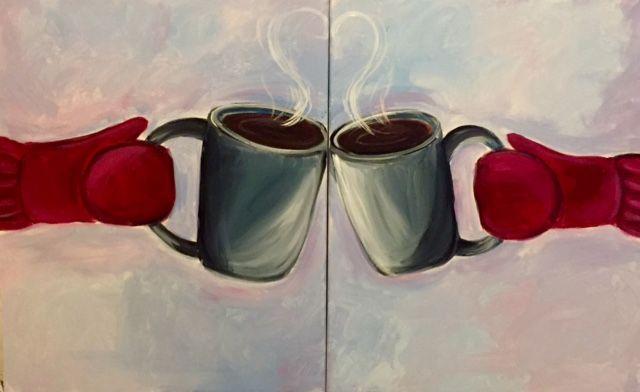 Mug Love Partner Painting at Barefoot Bernies - Paint Nite Events