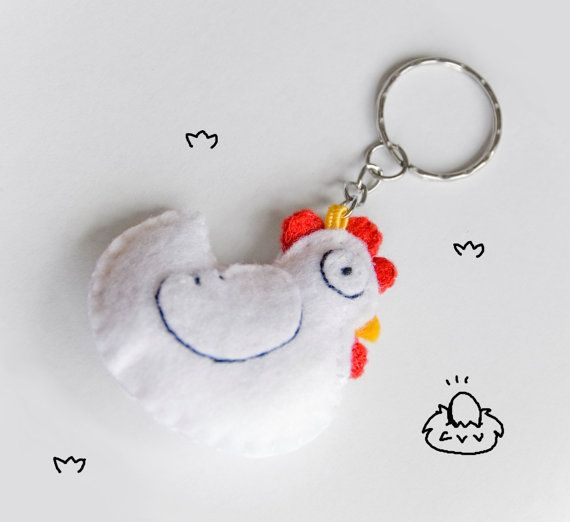 Felt+chicken+keychain+cute+white+hen+keyring+by+InspirationalGecko,+€12.00